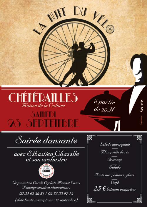 Affiche soirée dansante La Nuit du Vélo à Chénérailles