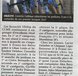 Article Cercle Cycliste Mainsat Evaux La Montagne 04 septembre 2017