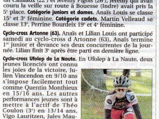 Article Cercle Cycliste Mainsat Evaux journal La Montagne 27 octobre 2017