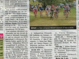 Articles journal La Montagne octobre 2017 Cercle Cycliste Mainsat Evaux