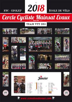 Calendrier 2018 Cercle Cycliste Mainsat Evaux