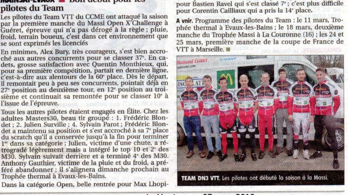 Présentation Team VTT DN3 Creuse Mainsat Evaux 2018