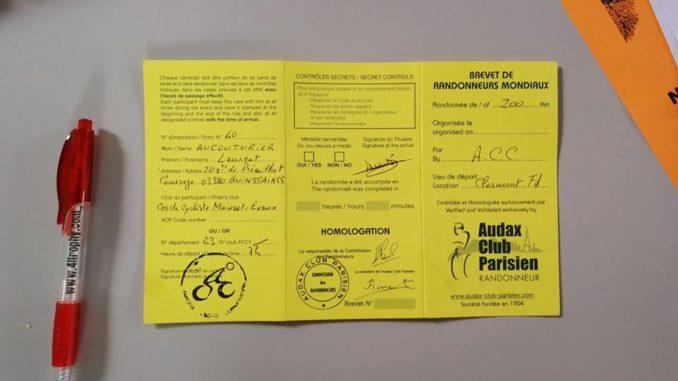 Laurent Aucouturier brevets de randonneurs mondiaux Paris Brest Paris