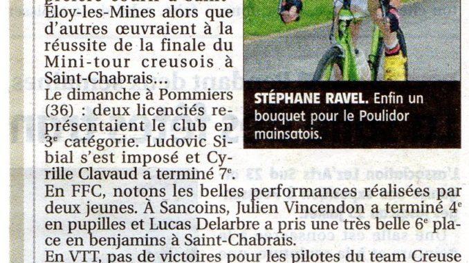 Article journal La Montagne Cercle Cycliste Mainsat Evaux 07 juillet 2018