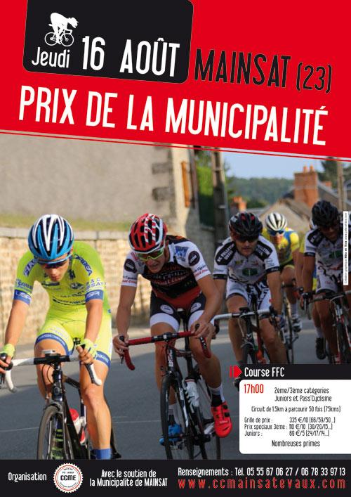 Affiche prix cycliste FFC de la municipalité de Mainsat