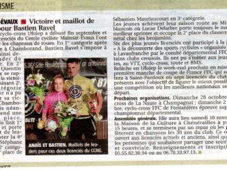 Article Bastien Raval et Anaïs Louis journal La Montagne 9 octobre 2018