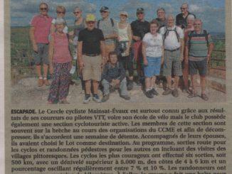 Les cyclotouristes du Cercle Cycliste Mainsat Evaux en Dordogne