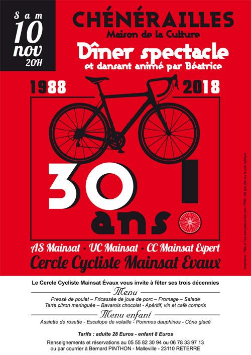 Affiche 30 ans du Cercle Cycliste Mainsat Evaux