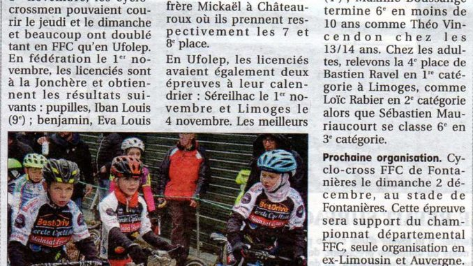 Article CC Mainsat Evaux journal La Montagne 8 novembre 2018