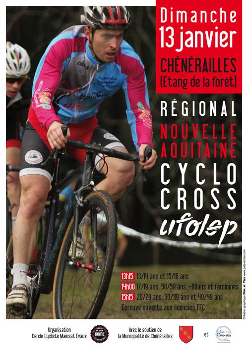 Affiche régional UFOLEP cyclo-cross2019 Nouvelle Aquitaine à Chénérailles