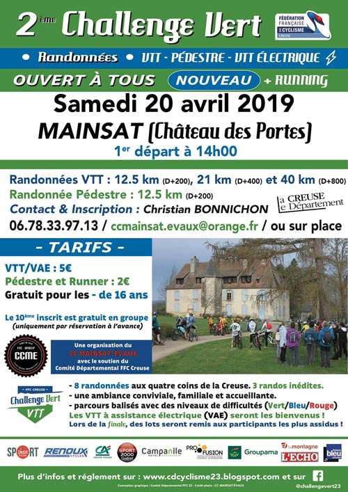 Affiche Chalenge Vert VTT 2019 à Mainsat
