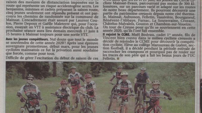 Article journal La Montagne 17 juin 2020 Cercle Cycliste Mainsat Evaux