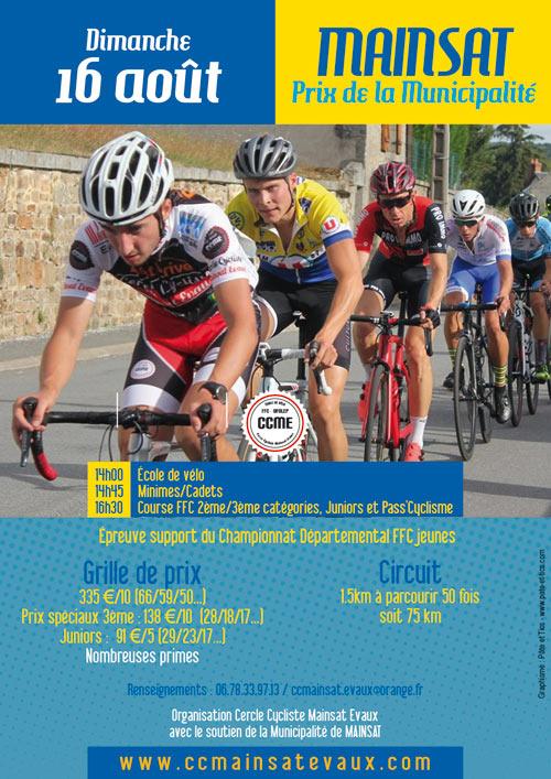Affiche prix cycliste FFC de la Municipalité à Mainsat