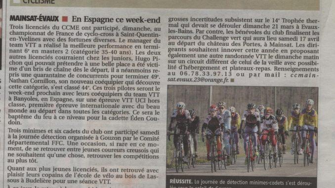 Article journal La Montagne 25 février 2021 Cercle Cycliste Mainsat Evaux