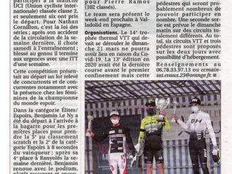 Article journal La Montagne 09 mars 2021 Cercle Cycliste Mainsat Evaux